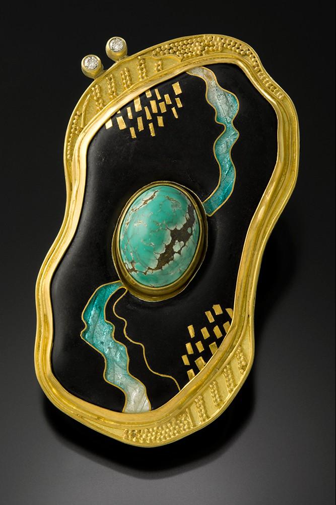 'Streaming Turquoise' Pin/Pendant